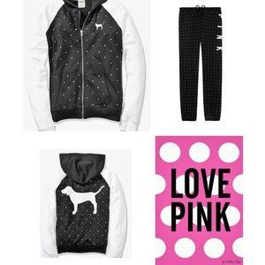 XS S VS PINK BLING skinny jogger zip HOODIE SET